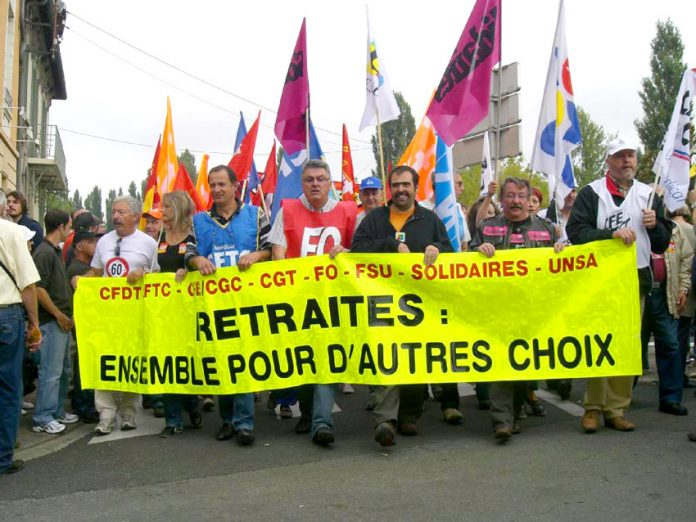 French trade unions demonstrate against pension cuts