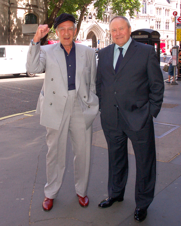 A delighted Peter with George Davis outside the High Court when George Davis was finally cleared
