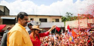 Venezuelan president Nicolas Maduro addresses cheering supporters at a rally in Carabobo
