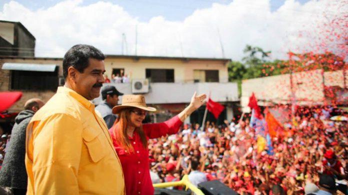 Venezuelan president Nicolas Maduro addresses cheering supporters at a rally in Carabobo