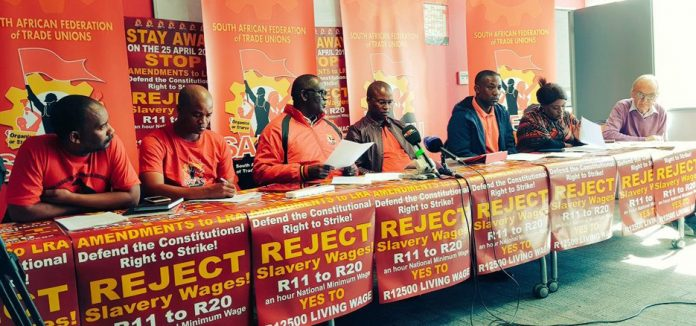 South African Federation of Trade Unions press conference last Thursday to launch its programme of action opposing the National Minimum Wage Bill
