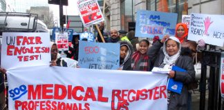 Health professionals on the march in February demand the government grant overseas doctors visas to come and work in the NHS where they are desperately needed