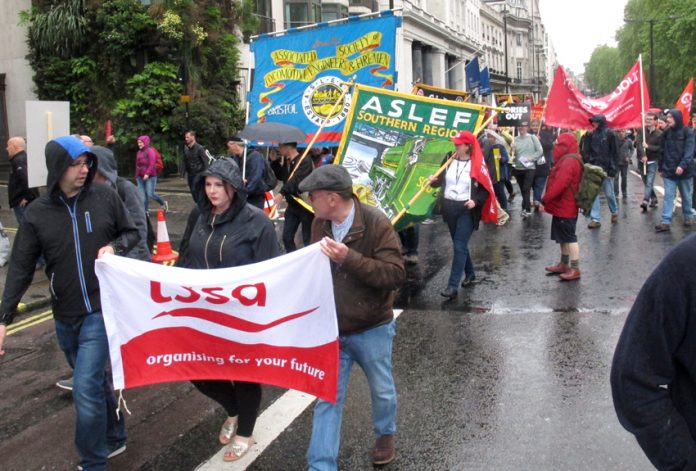 TSSA and Aslef banners on last month's TUC demonstration in London