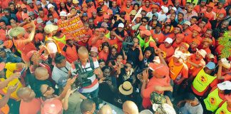 SAFTU members march during the April 25 general strike against new anti-union legislation