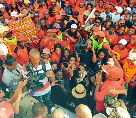 SAFTU members march during the April 25 general strike against new anti-union legislation