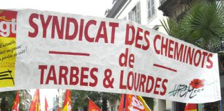 Striking French railworkers on the march – they are on striking for two days in every five until the end of next month