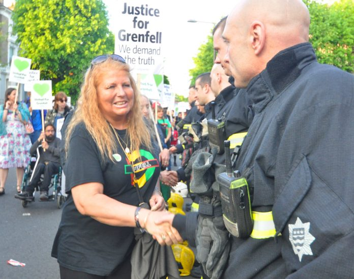 Support for firefighters who risked their lives saving residents of the Grenfell Tower inferno is solid with survivors and local  residents on this month's Silent March lining up to shake their hands