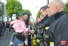 Grenfell families greet firefighters' Guard of Honour on the Silent March in North Kensington on May 14th