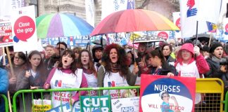 Nurses at the front of the march on February 3rd against NHS cuts and privatisation