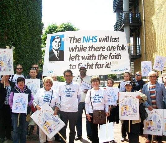 GPs join campaigners fighting to keep open the Katherine's Dock GP surgery in east London