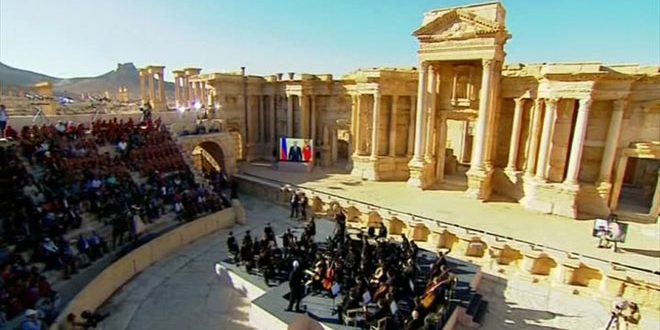 The Marinsky Orchestra performs in the ancient amphitheatre in Palmyra after it was liberated from ISIS by Syrian and Russian forces in 2016