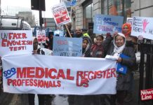 Doctors and medical professionals on the NHS march in February demanding that they are registered to work in the NHS where they are desperately needed