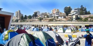 Hundreds of refugee tents in the Greek port city of Piraeus