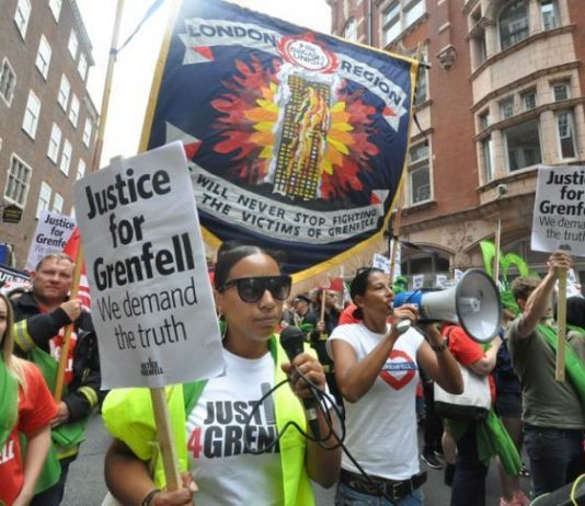 Joint Justice4Grenfell and FBU demonstration to the Home Office on June 16th