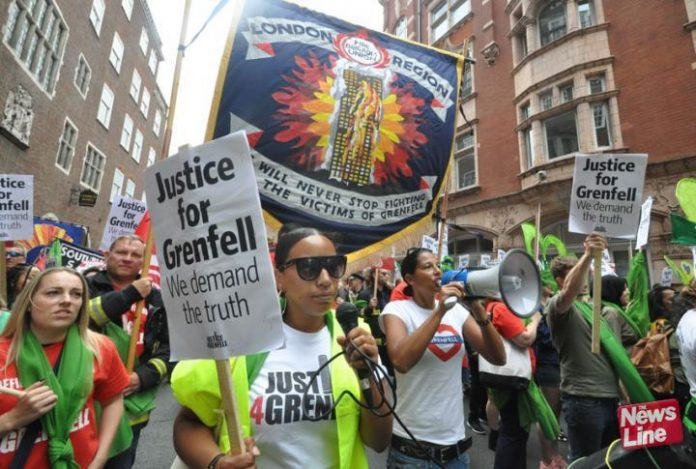 Joint Justice4Grenfell and FBU demonstration to the Home Office in London on June 16th