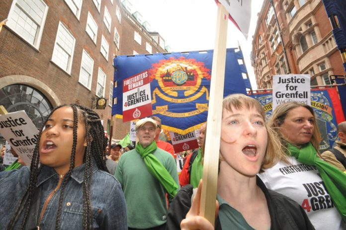 The London Grenfell community and firefighters united in demanding 'Justice for Grenfell' on a joint march with the FBU last month