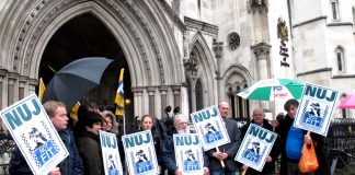 NUJ members outside the High Court defending their right to protect their sources from the state
