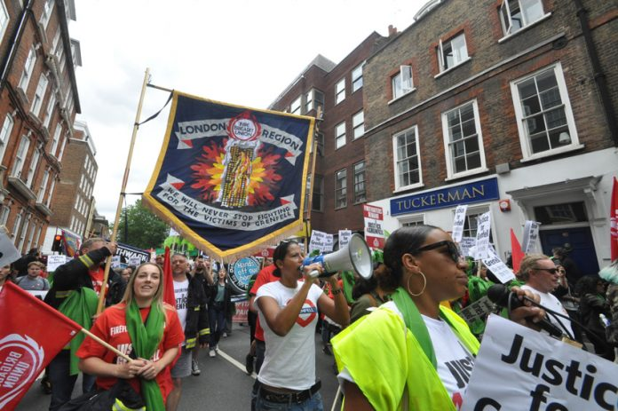 London Region FBU banner on the FBU-Justice4Grenfell joint march last month