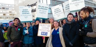 Junior doctors on the picket line during their strike in 2015 – they are often exhausted says the General Medical Council (GMC)