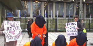 Demonstration outside the US Embassy demanding that Guantanamo Bay is shut down