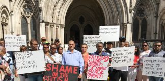 Chagos Islanders supporting DOMINIQUE ELYSSE (centre, wearing a light shirt) outside the High Court in London yesterday morning