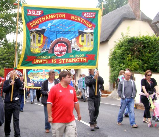 Aslef Banner on the Toldpuddle Martyrs march at a previous festival
