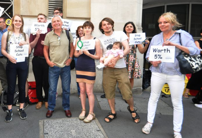 Teachers lobbying the Department for Education earlier this month demanding a 5 per cent pay rise will be angry their 3.5 per cent pay rise is a pay cut