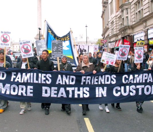 Friends and families of those who have died in police custody march for justice in October – deaths in police custody have reached a ten-year high