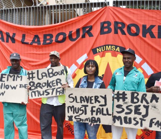 NUMSA members demonstrate outside the Constitutional Court earlier this year