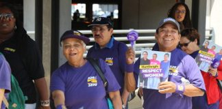 SEIU members at Dulles International Airport marching against the sacking of three colleagues by airport contractor Huntleigh