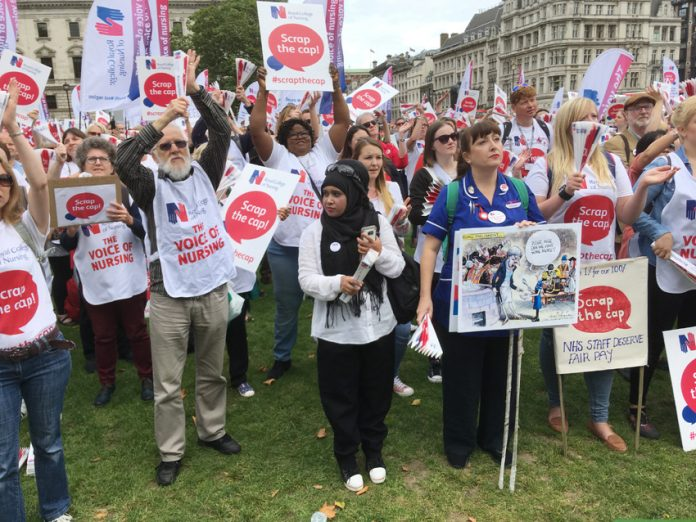 Nurses on the march against the pay cap – they are now very angry at their leaders' sell-out of their pay claim