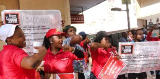 Above and below: Striking Shoprite workers in Namibia who won a 15% wage increase in 2015 are now being sued by the company for loss of sales. South Africa's NUMSA union has called for a boycott of the Shoprite chain