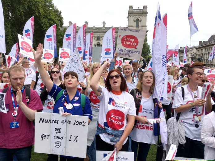 Nurses demonstrate in parliament Square against the against the one per cent pay cap