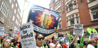 FBU members march with Grenfell survivors