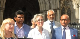 Doctors outside the High Court yesterday (l-r) SARAH DODDS, Medical Defence Shield, CHANDRA  KANNEGANTI, Chair of British International Doctors Association, Dr JENNY VAUGHAN, Manslaughter & Healthcare, Dr JS BAMRAH, Chairman of British Association of Phys