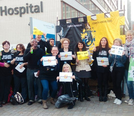 Radiographers outside St Thomas' Hospital in London during the national pay strike – the Royal College of Radiologists have declared a 'Red Alert'