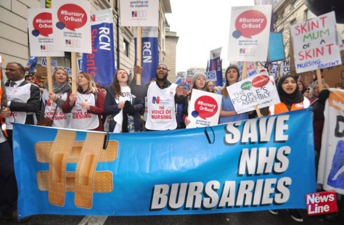 Student nurses and midwives marching to demand their bursaries are restored – on A-level results day figures reveal student applications for nursing have plummeted