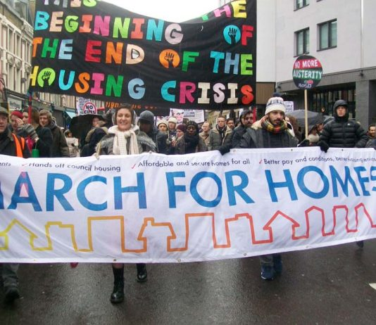 Tenants marching on London's City all demanding more council homes