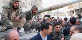 President BASHAR AL-ASSAD greets victorious Syrian troops in Eastern Ghouta