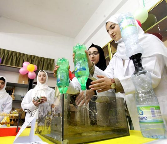 Science class in a Palestinian school in Gaza – UNRWA funding for 700 schools in Gaza will run out in September