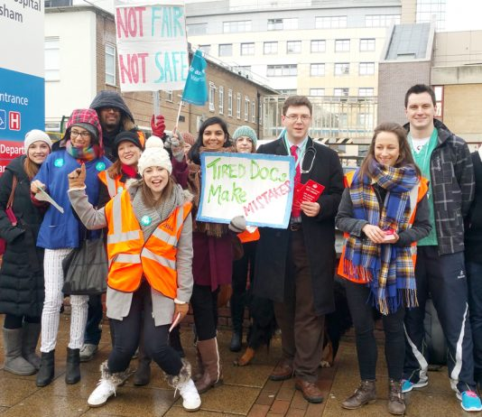 Junior doctors outside Lewisham Hospital during their national strike – 8,000 doctors shifts were left uncovered in London alone last year