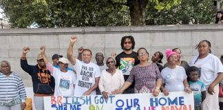 Generations of Chagos Islanders occupied Trafalgar Sq for 5 days during July demanding their right to return to their homeland – they protested at The Hague yesterday