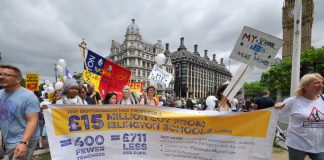 London schools demonstration outside parliament against funding cuts