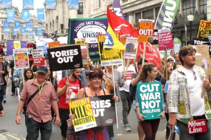 Labour Party march to get the Tories out in July last year –  many Labour MPs now consider Labour leader Corbyn to be their main enemy