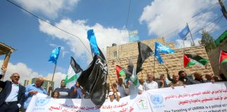Demonstration in Hebron outside the UN offices last week against the US cut to UNRWA funding