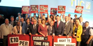 TUC leaders and delegates launch a campaign for £10 an hour minimum wage at the TUC Congress in Manchester yesterday