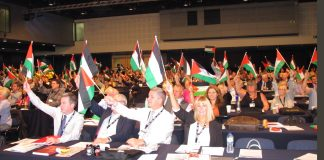 TUC delegates wave Palestinian flags and condemn Israel's new racist law