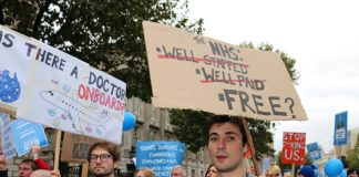 Junior doctors on a demonstration fighting against cuts and for better wages for NHS staff – there is another winter crisis looming
