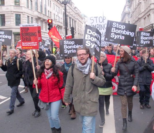 Mass demonstration through central London against US, UK, French and Israeli forces attacking Syria