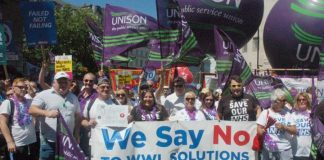 The Wrightington, Wigan and Leigh NHS Trust campaigners on the NHS march – they successfully forced the withdrawal of a subsidiary company – now NHS Improvement has 'paused' the setting up of subsidiaries all over the country